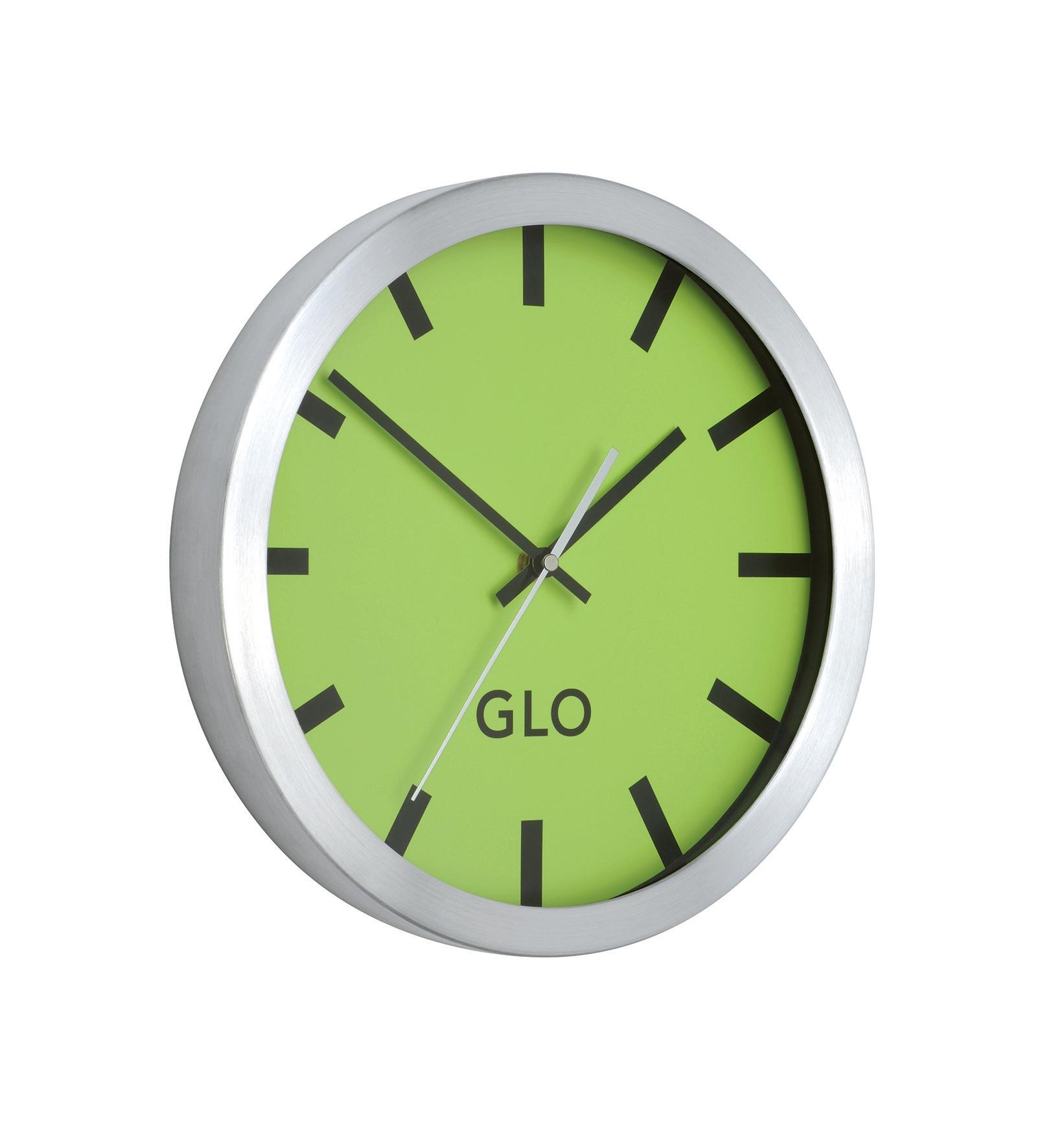GLO Aluminium Clock Green Face
