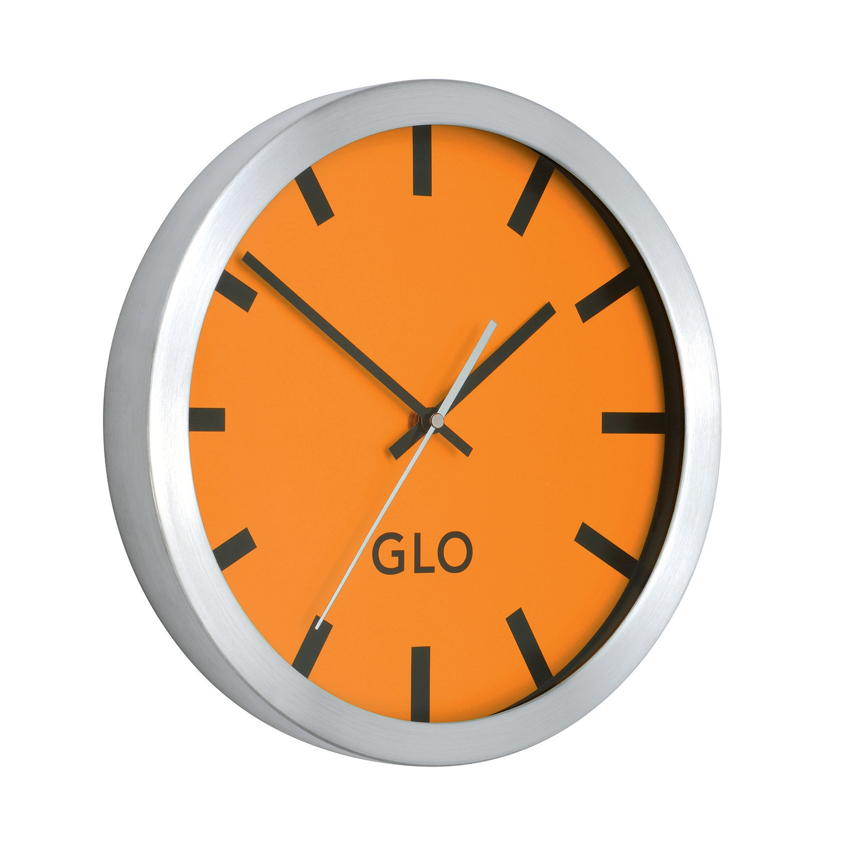 GLO Aluminium Clock Orange Face