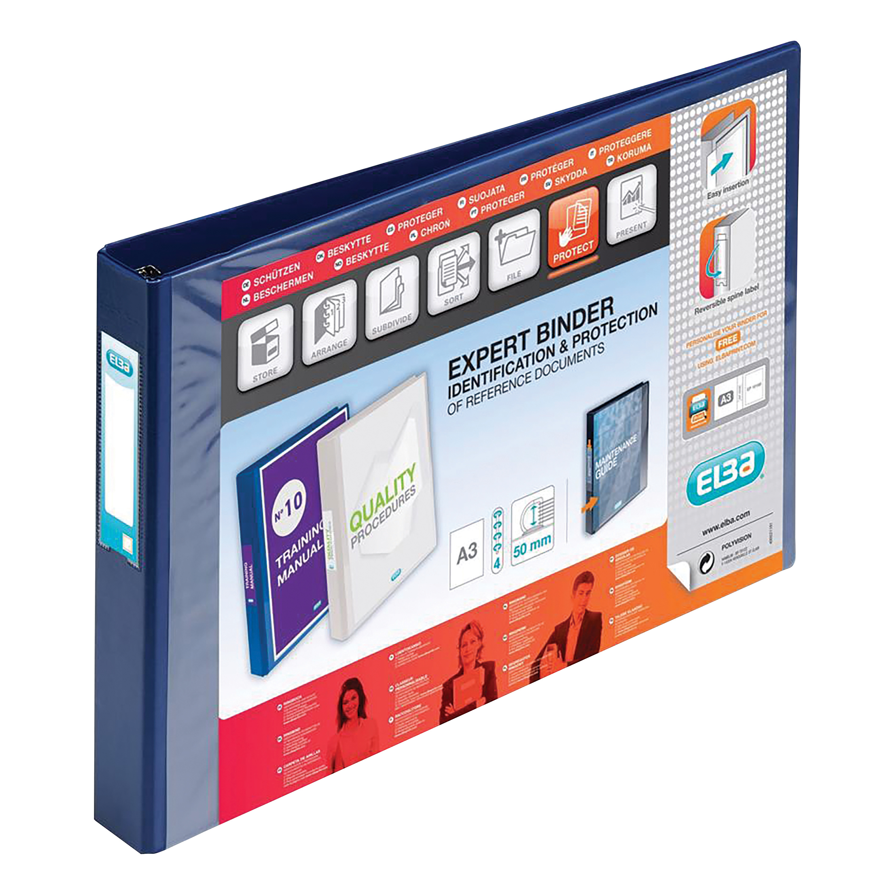 Elba Vision Ring Binder PVC Clear Front Pocket 4 D-Ring A3 Landscape 30mm Blue Ref 100082460 [Pack 2]