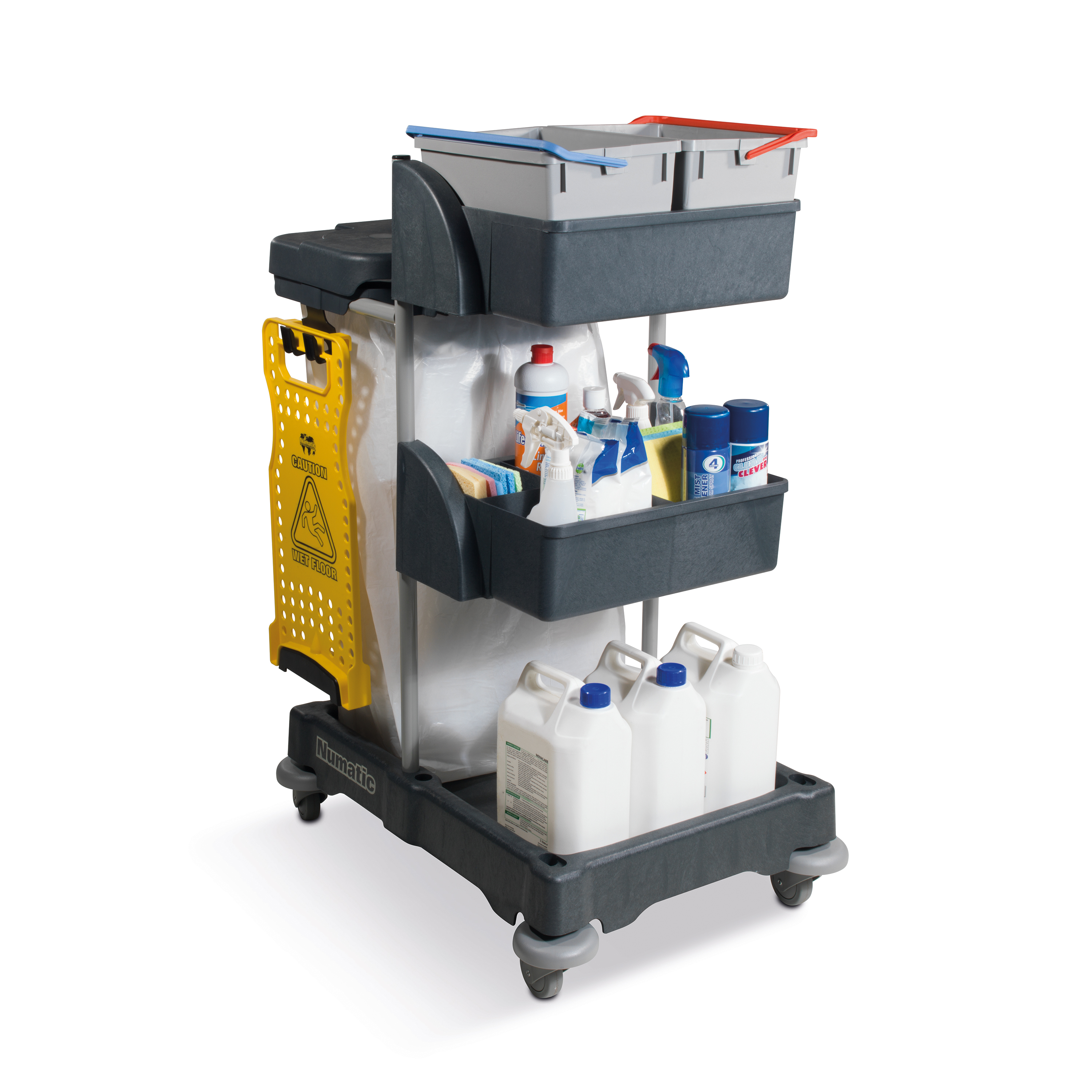 Numatic Xtra Compact XC3 Cleaning Trolley with 2 Buckets and 2 Tray Units W570xD840xH1060mm Ref 758039