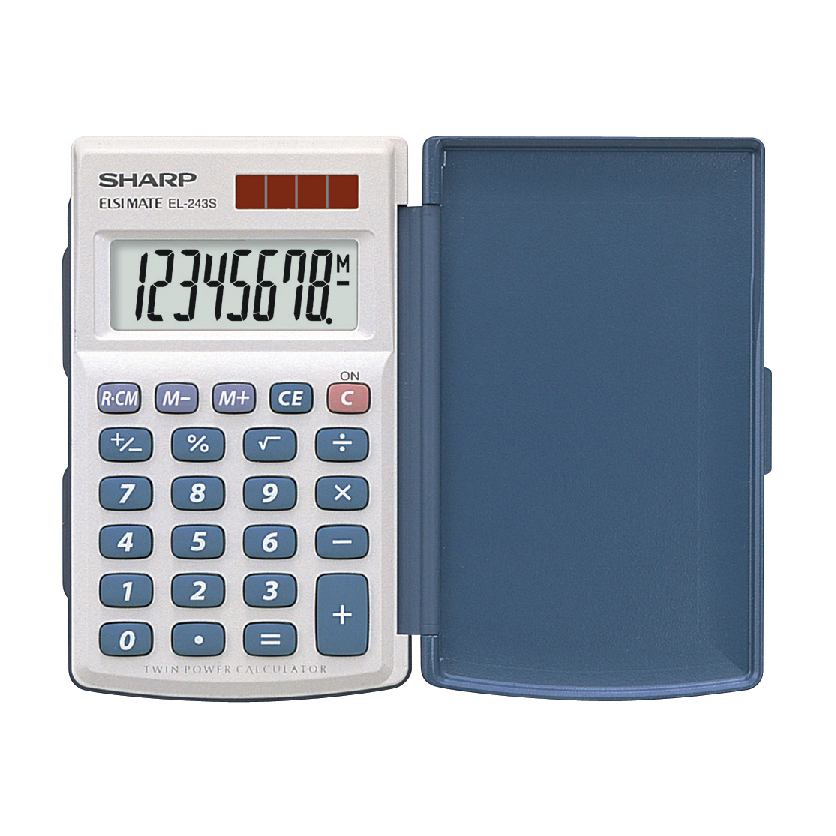 Image for Sharp Handheld Calculator with Hard Cover 8 Digit 3 Key Memory Solar/Battery 64x11x105mm White Ref EL243S