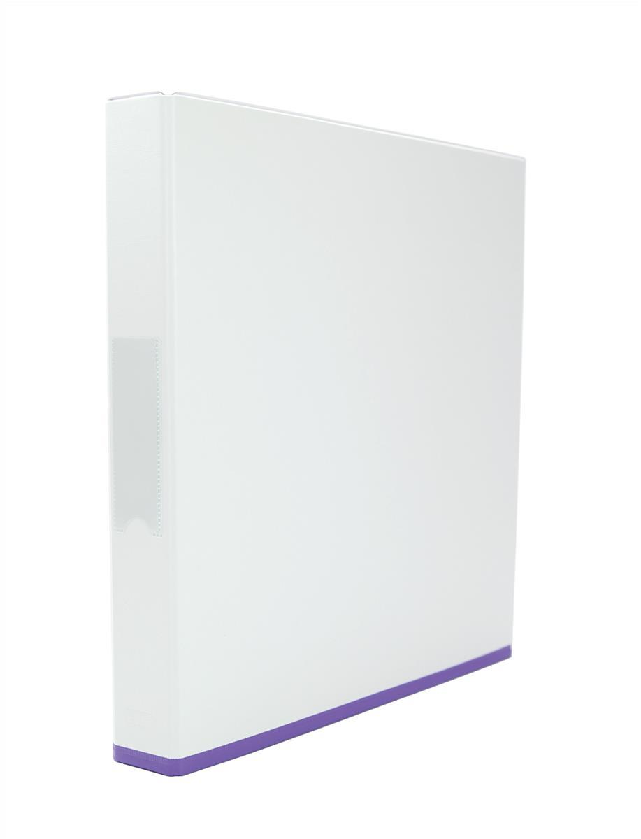 Elba Mycolour Ring Binder 2 O-Rings A4 White and Purple Pack 10