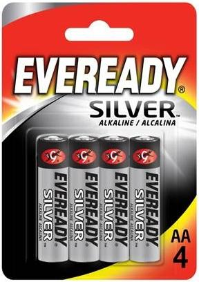 Energizer Everyday Silver Alkaline AA Batteries R03 Pk4