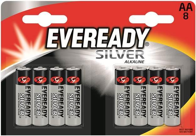 Energizer Everyday Silver Alkaline AA Batteries R03 Pk8