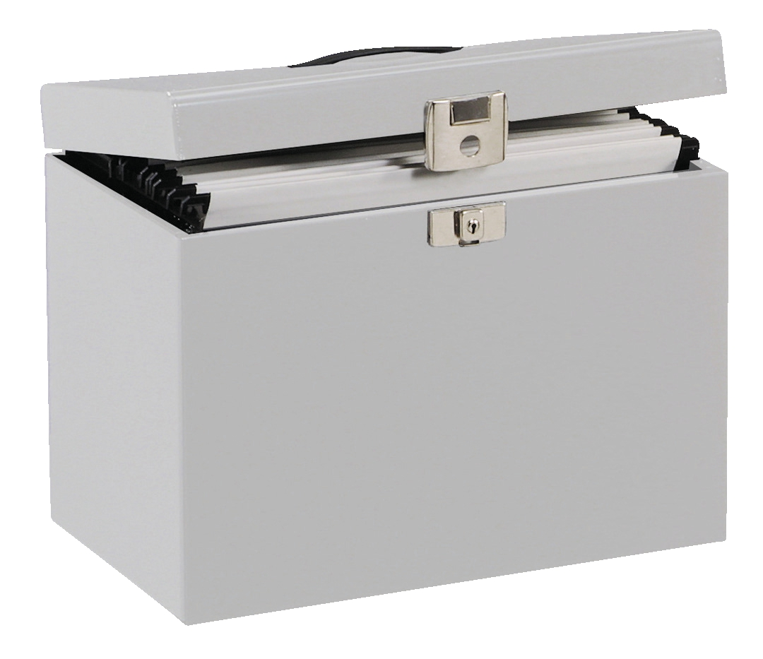 Pierre Henry Metal File Box with 5 Suspension Files Tabs and Insert A4 370x220x290mm Silver 040011