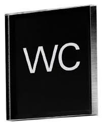 PictoacrylicSignWCBlackAcrylic 85x85x8mm