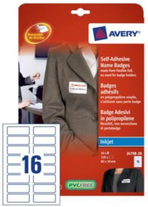 Avery Self Adhesive Inkjet Name Badges Pack 20 J4798-20