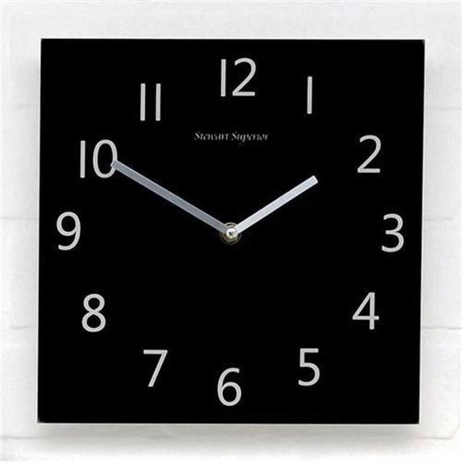 5 Star Facilities Wall Clock Square Face 255x255mm Black