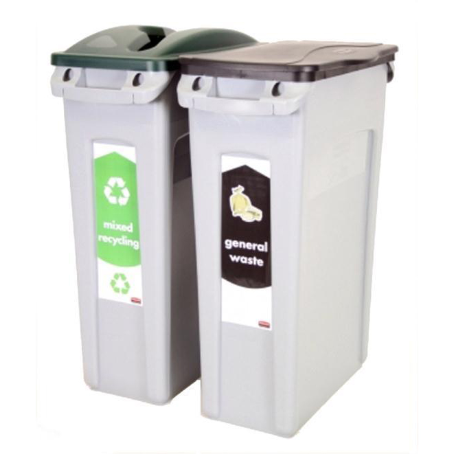 Rubbermaid Slim Jim Bin Starter Pack Includes x2 Recycling Bins 87 Litres Each Green/Black Ref 1876489