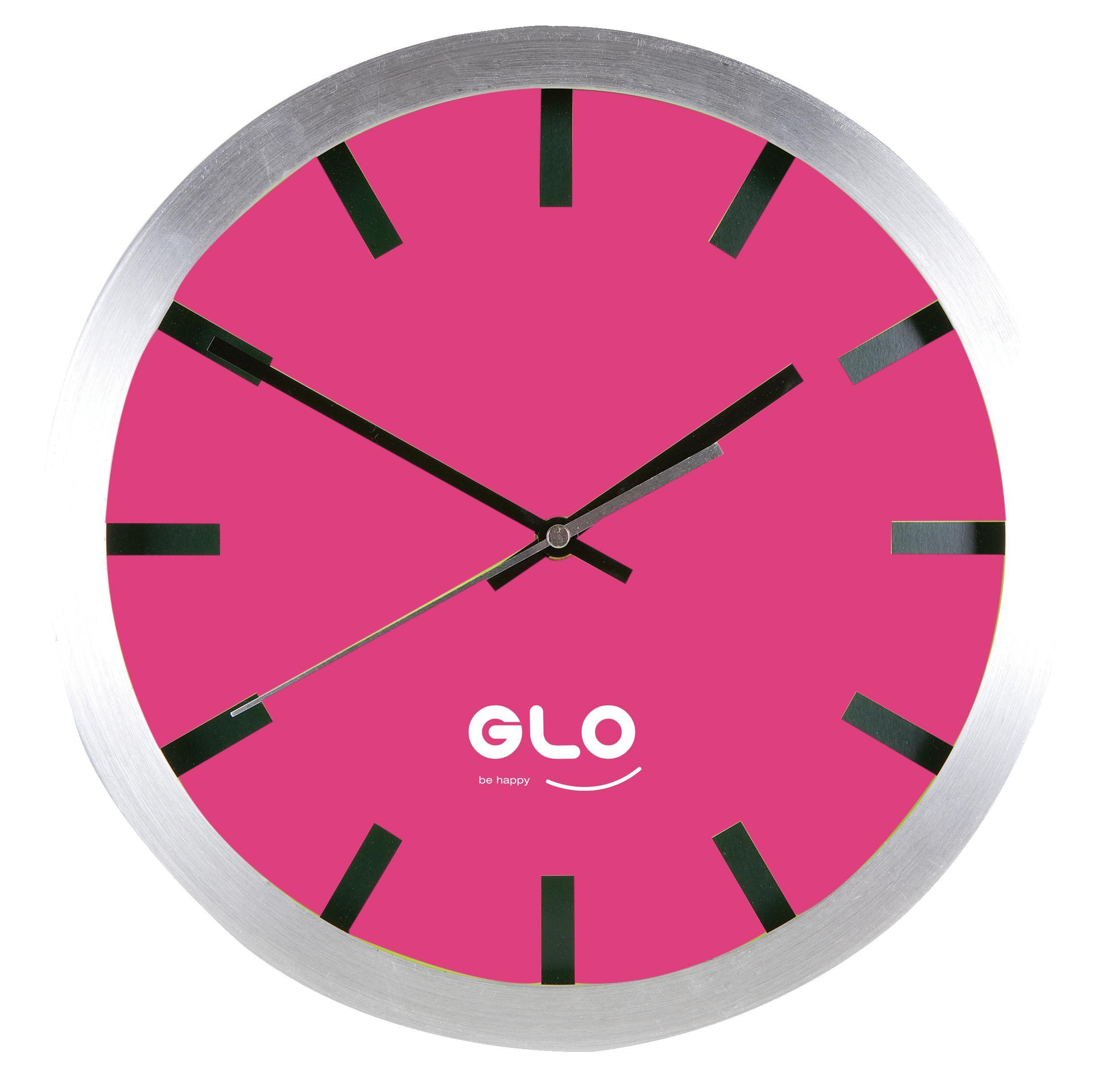 GLO Aluminium Clock Fuschia Face