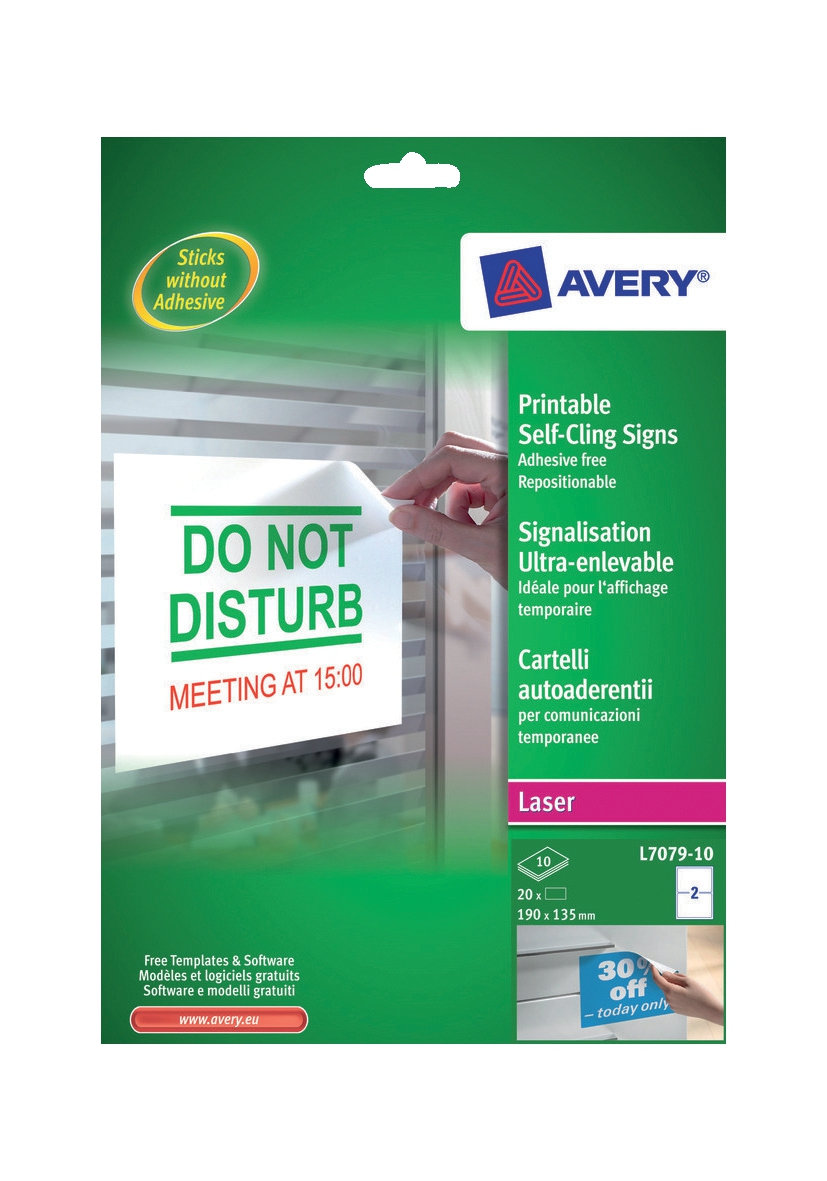 Avery Removable Sign Self-Cling Non-Static No Adhesive 2 Per Sheet 190x135mm Code L7079-10