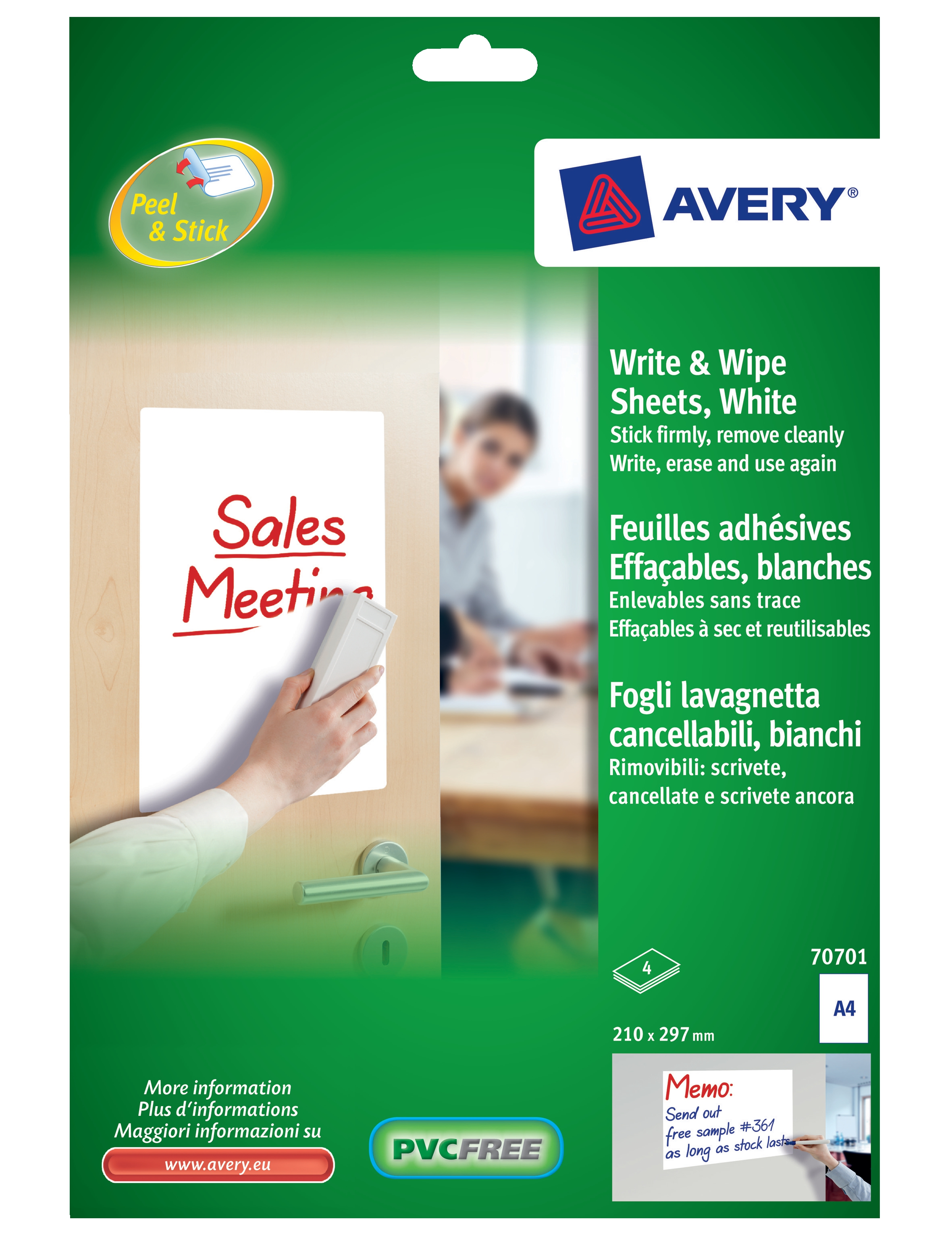 Image for Avery Write and Wipe A4 Pack 5 Sheets
