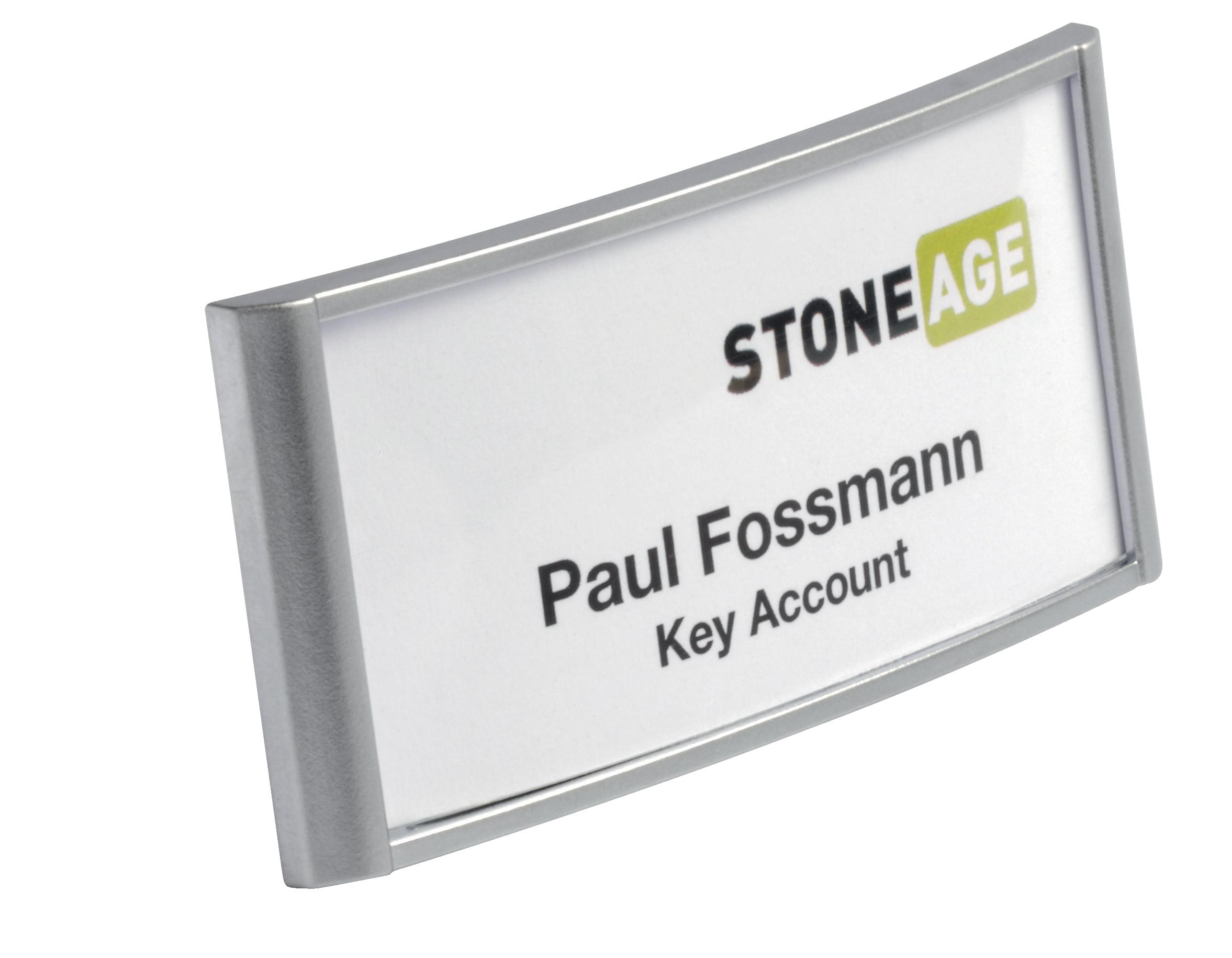 DURABLE Classic Name Badge With Magnet 34x74mm Silver