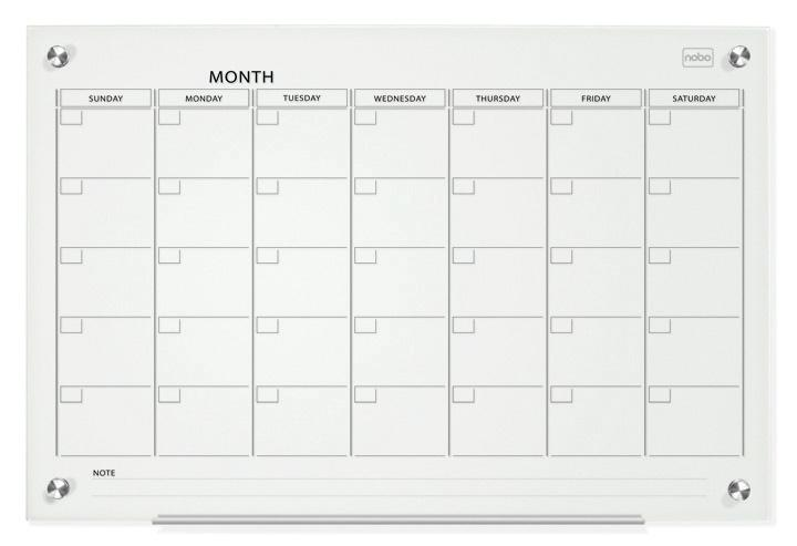 Nobo Glass Magnetic Calendar Board 600x900mm