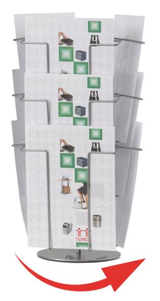 Literature Holder Revolving Table Top Stand A4 9 Compartments TW51158
