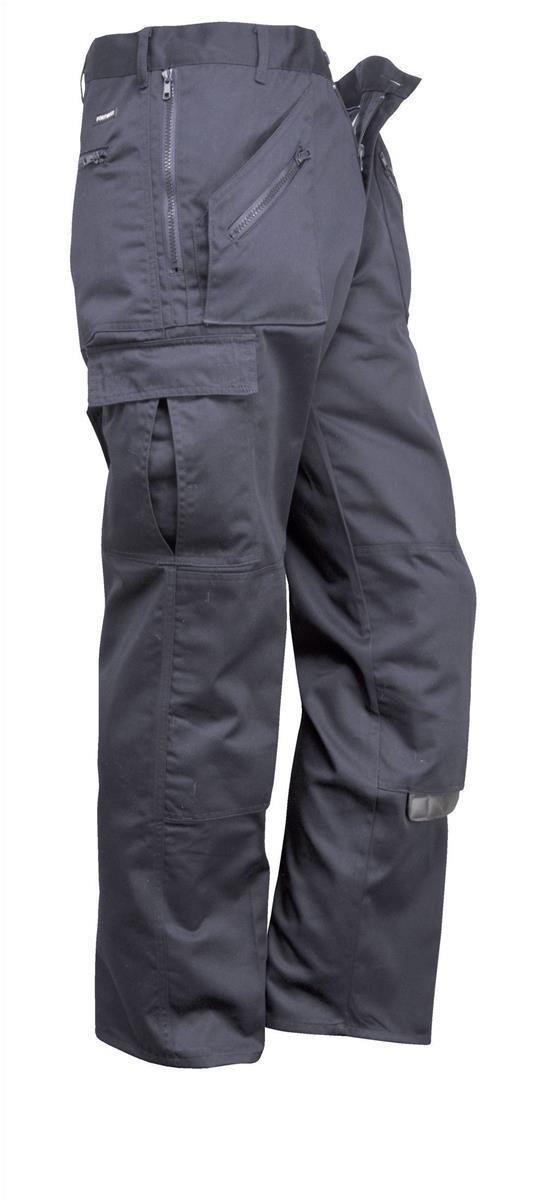 Portwest Action Trousers Polycotton Reinforced Multiple-pockets Regular 28in Navy Ref S887REGNAVY28