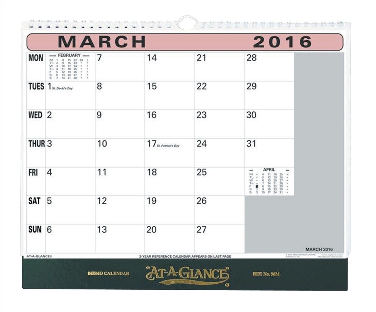 At A Glance 2016 Memo Calendar 90M