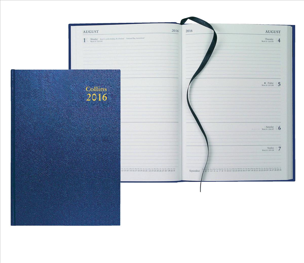 Collins 2016 A5 Desk Diary Week to View Blue 35