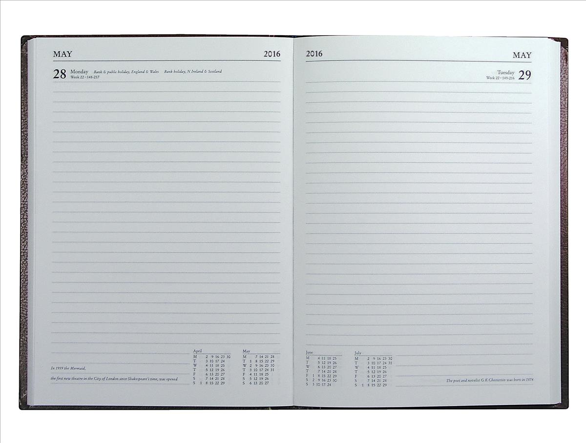 Collins 2016 Eco Desk Diary A5 Day Per Page Black EC52