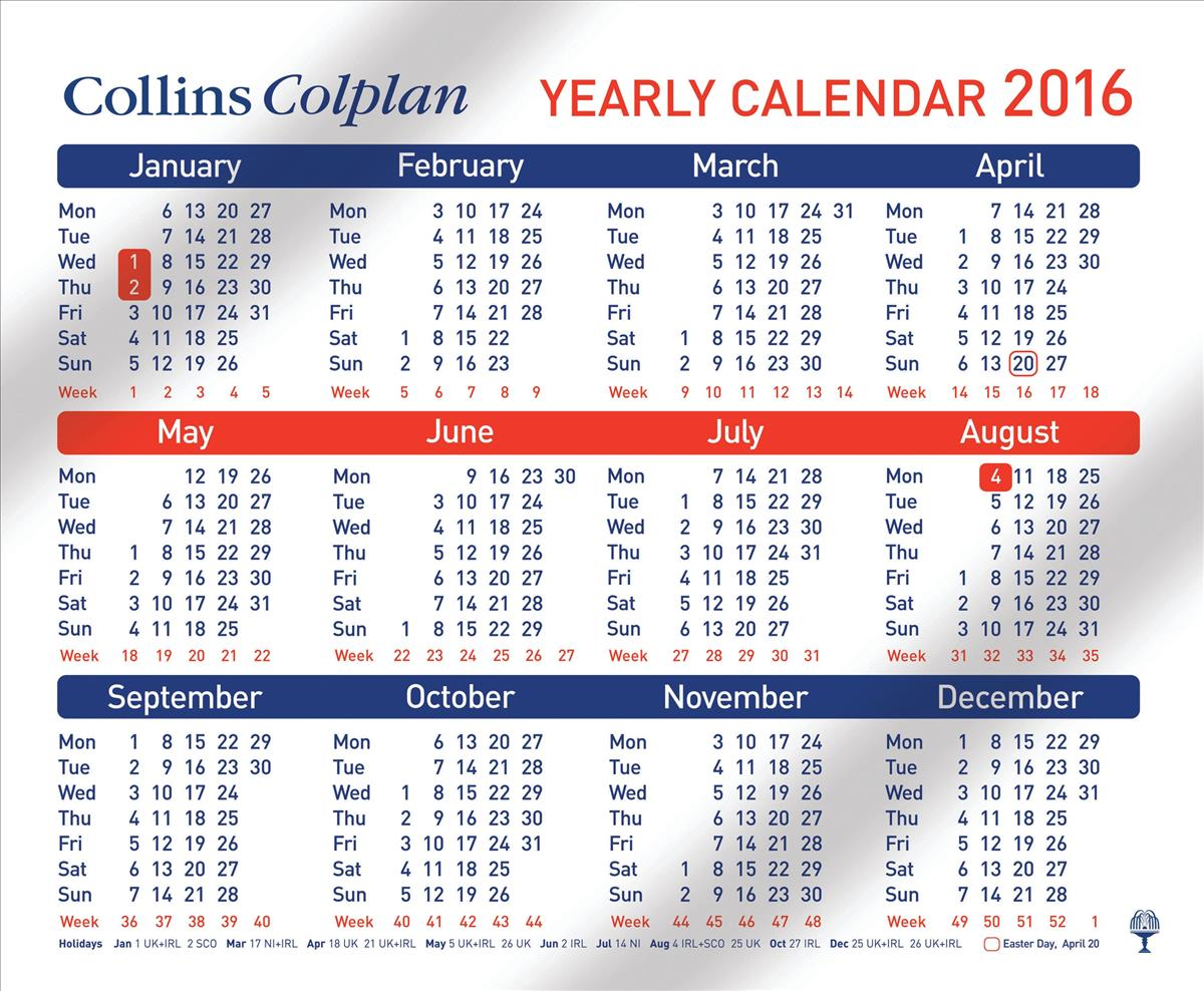 Collins Yearly Calendar 2016 CDS1