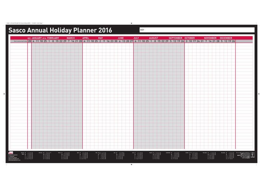 Sasco 2016 Annual Holiday Planner Unmtd