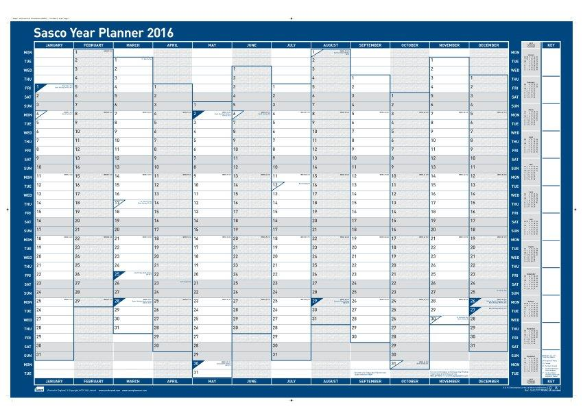 Sasco 2016 Year Planner Vertical Unmtd