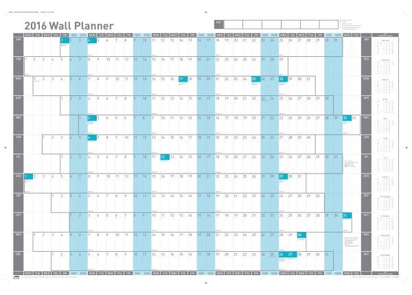 Sasco 2016 Wall Planner Mtd