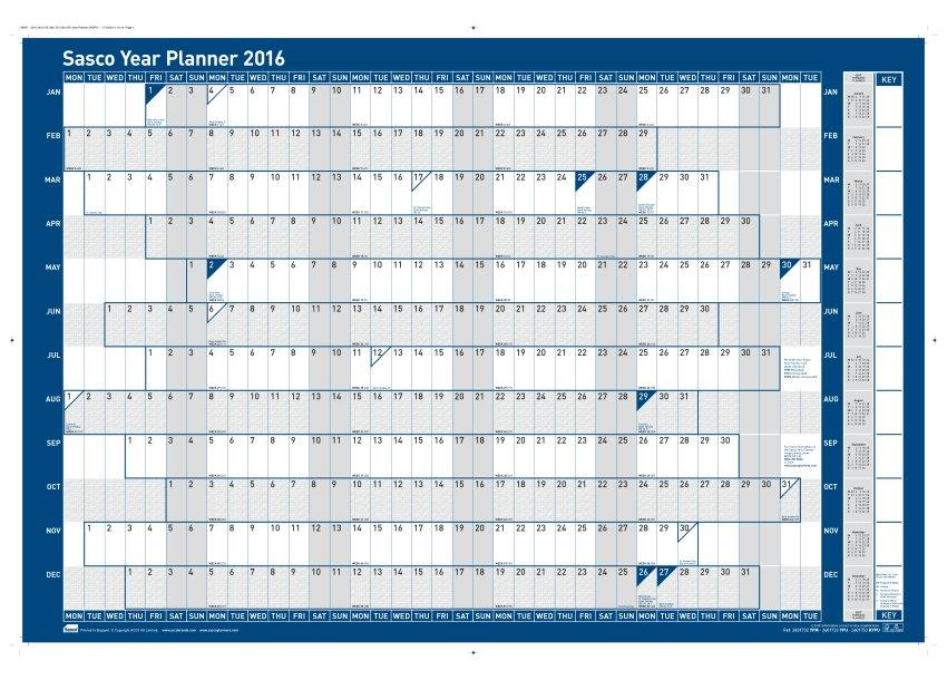 Sasco 2016 Year Planner Mtd