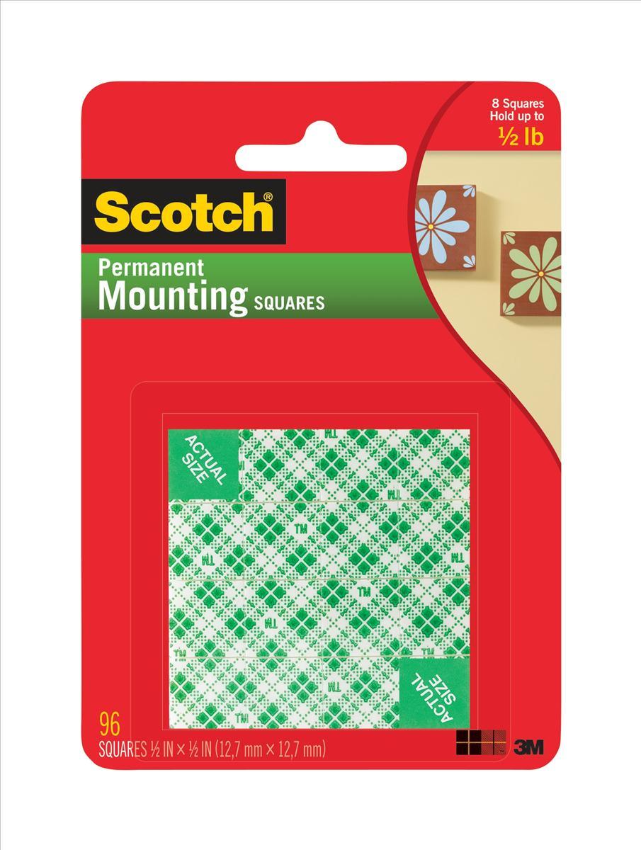 3M Scotch Permanent Mounting Square 12.7mm White 111-SML