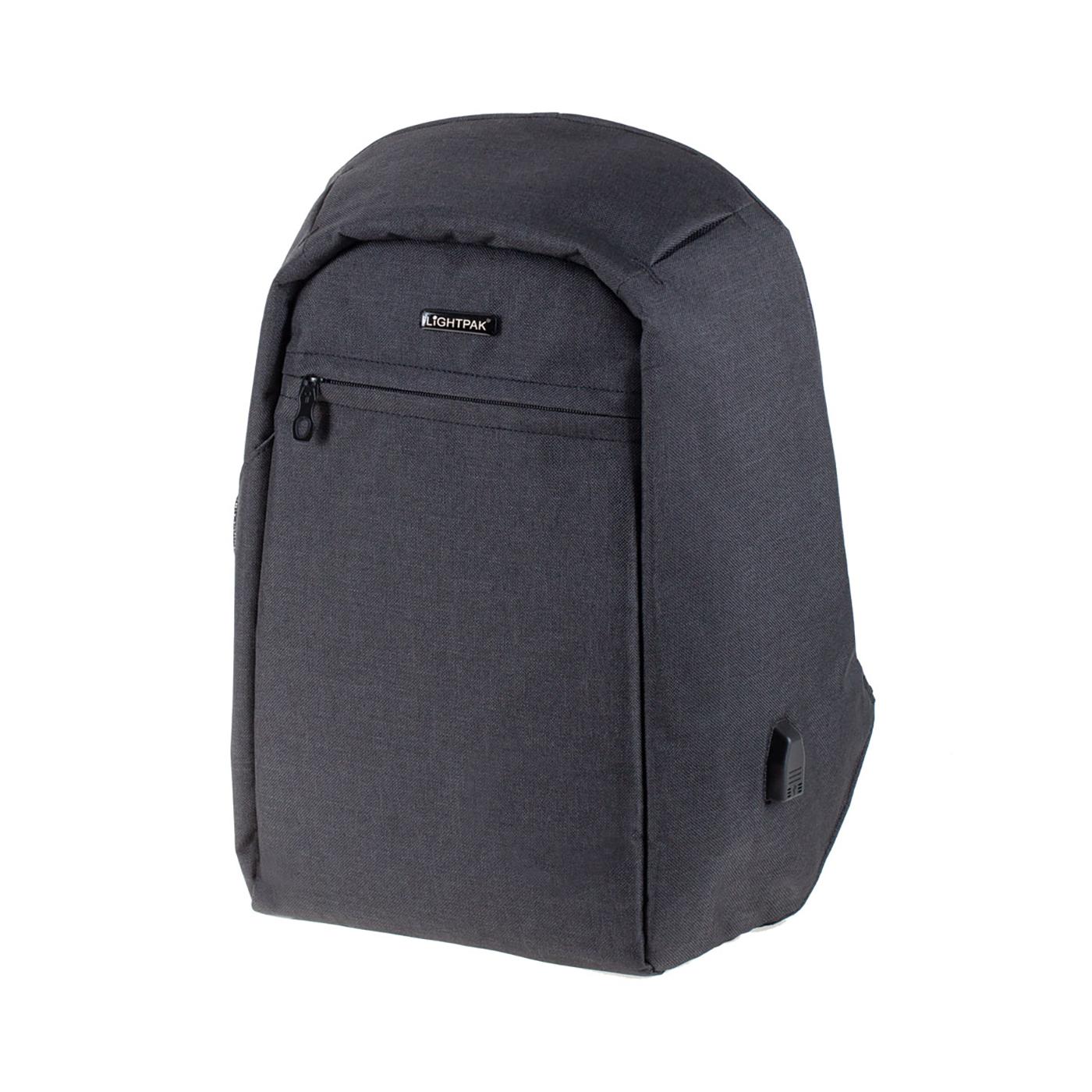 LightPak Safepak Backpack With 12in Laptop Case Nylon Black Ref 46053