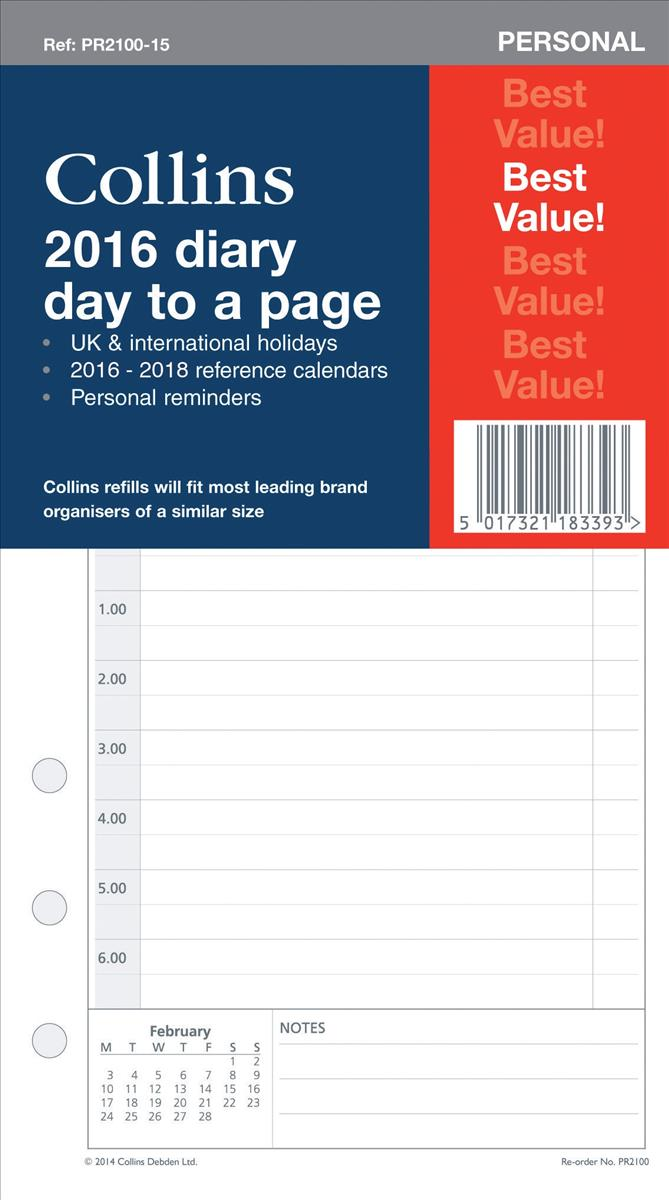 Collins Personal 2016 Diary Day Per Page Organiser Refill (Pack of 1) PR2100