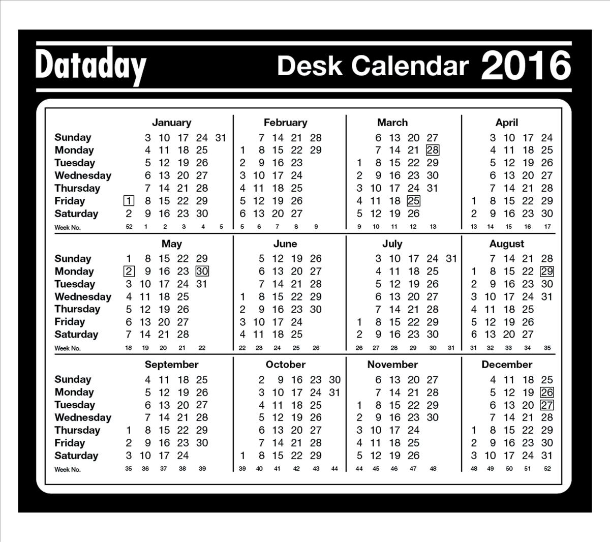 Year to View Desk Mouse Mat 2016