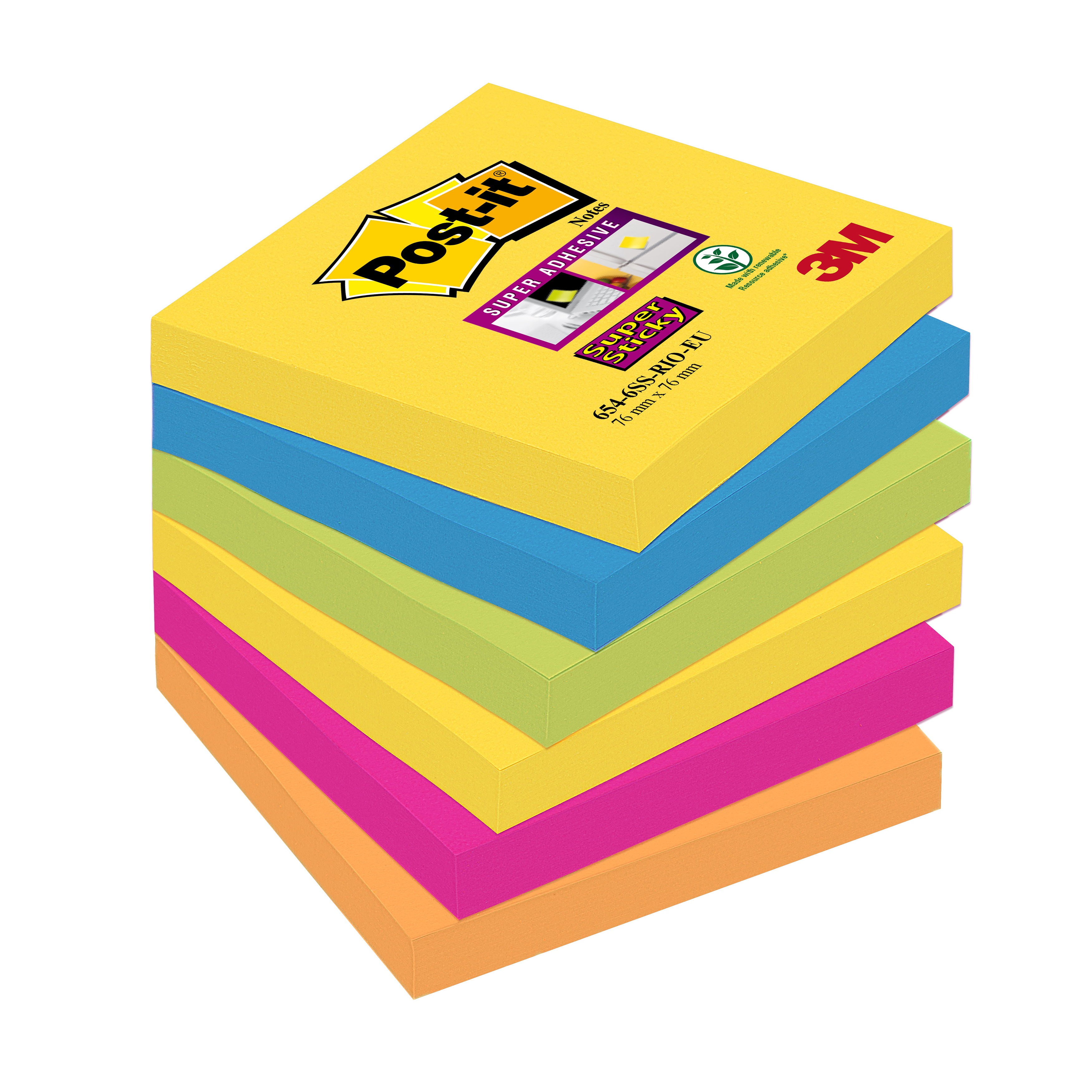 Post-it Super Sticky Removable Notes Pad 90 Sheets 76x76mm Rio Ref 654-6SS-RIO [Pack 6]