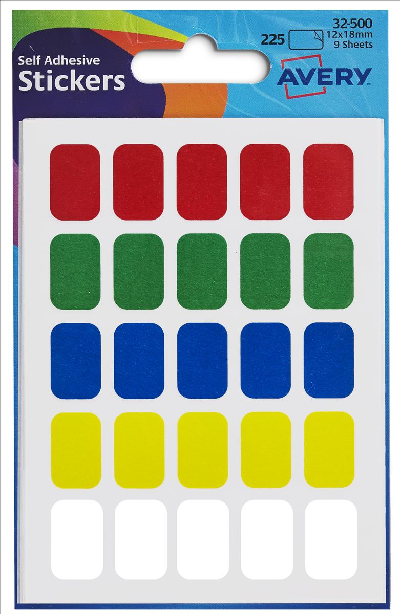 Avery Coloured Labels in Packets Assorted 225 Labels Size 12x18mm 32-500