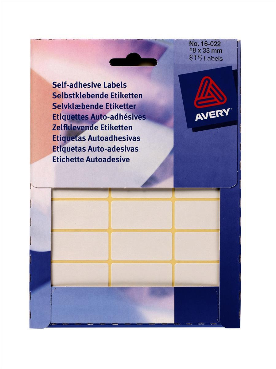 Avery White Self Adhesive Labels 19 x 38mm Pack of 816 Labels Code 16-022
