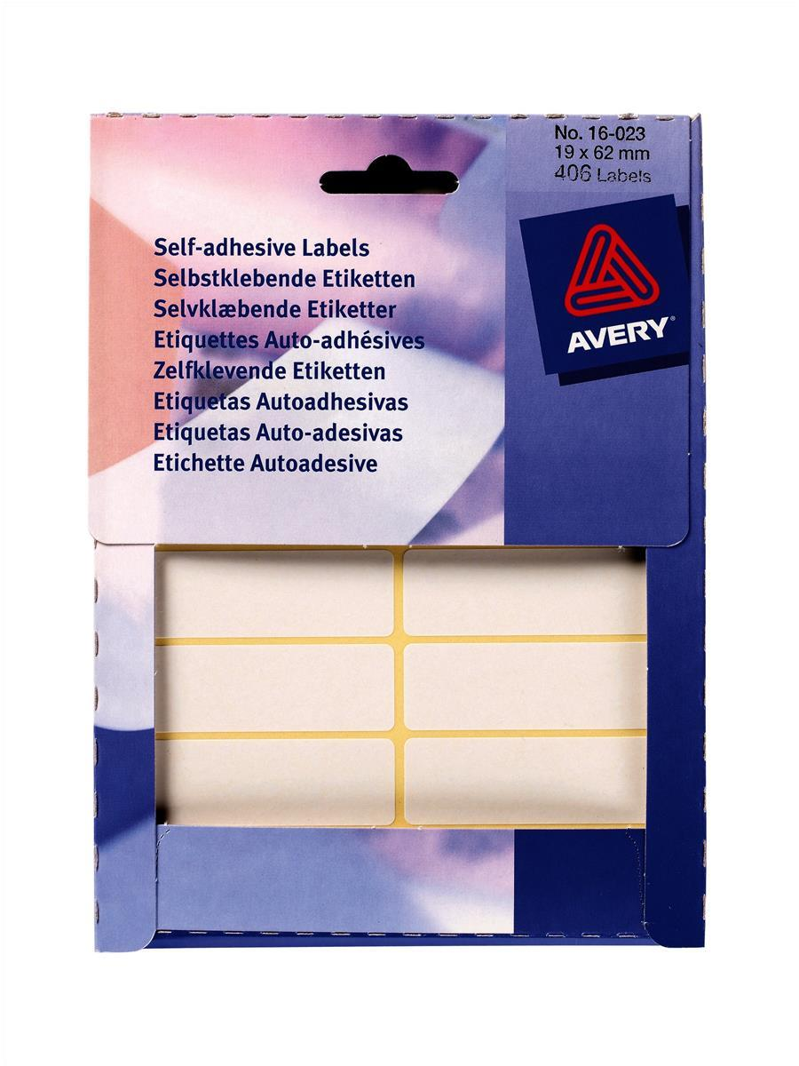 Avery Small Pack White Labels In Wallets 406 Labels Size 19mmx62mm Code 16-023