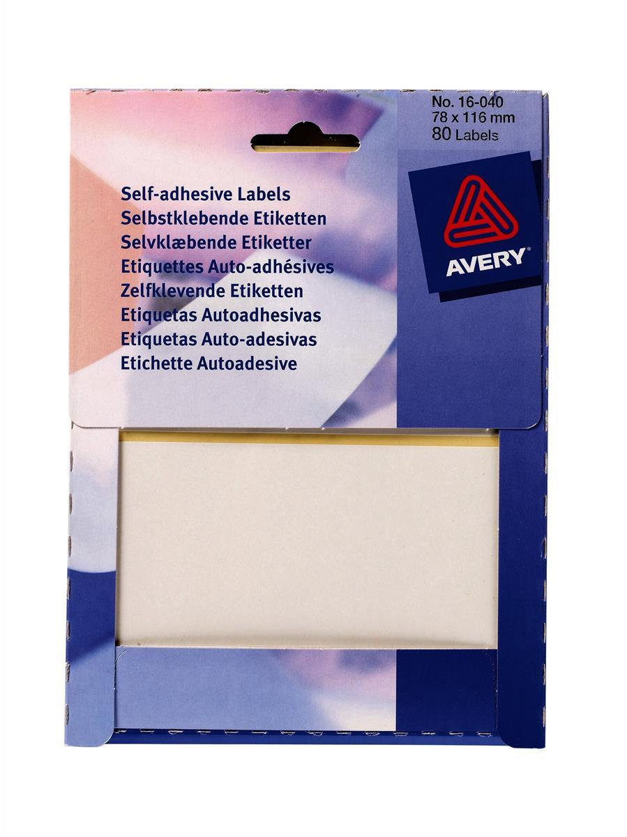Avery Small Pack White Labels In Wallets 80 Labels Size 78mmx116mm Code 16-040
