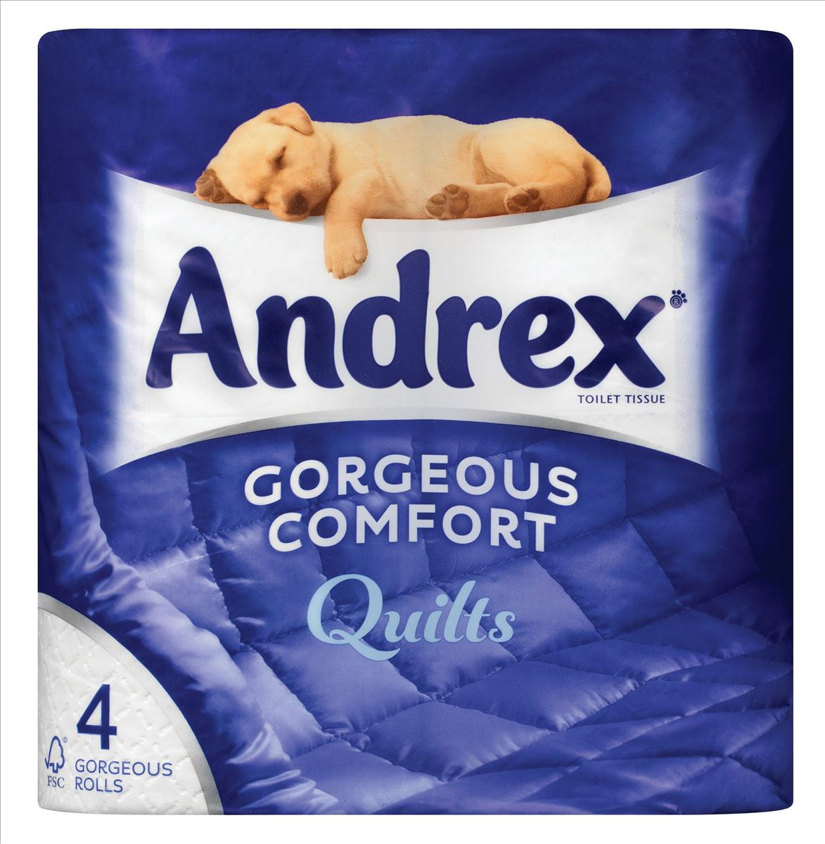Andrex Toilet Rolls 3-Ply Quilted White Pack 4