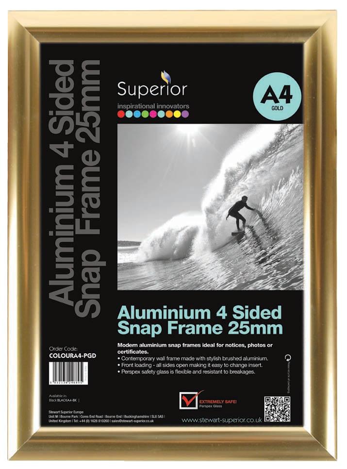 Image for A4 Polished Gold Snap Frames