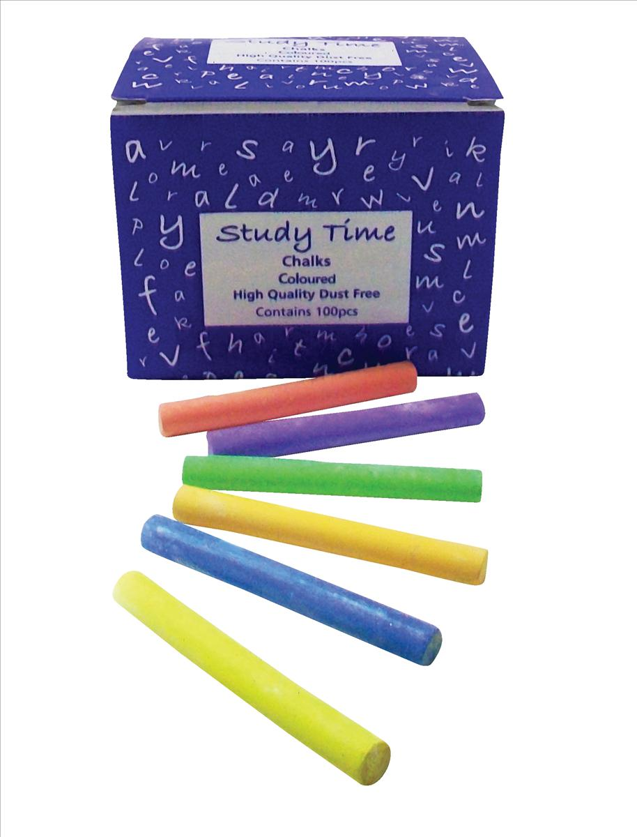 Study Time Coated Chalk Assorted Colours