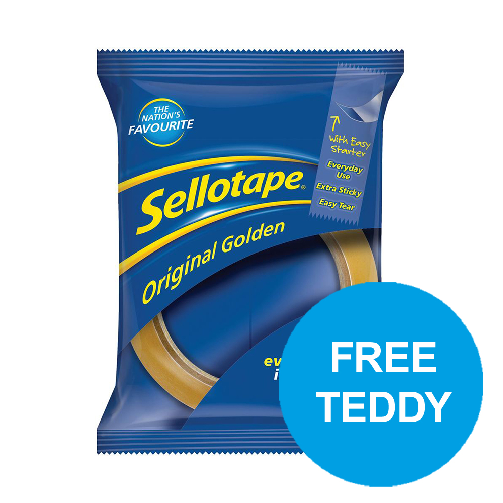 Sellotape Original Golden Tape Roll Non-static Easy-tear 24mmx66m Ref 1443306 [Pack 6] [Gift] Oct-Dec19