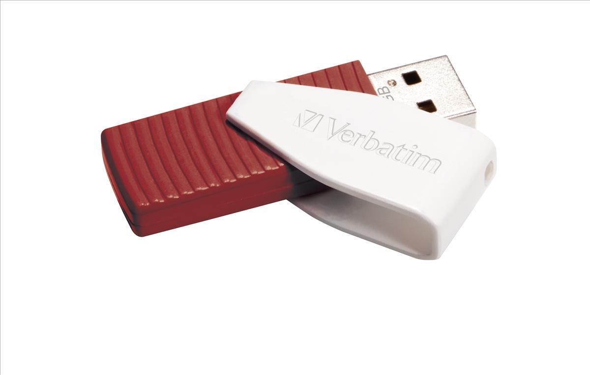 Verbatim Swivel Head Flash Drive USB 2.0 16GB Red Ref 49814