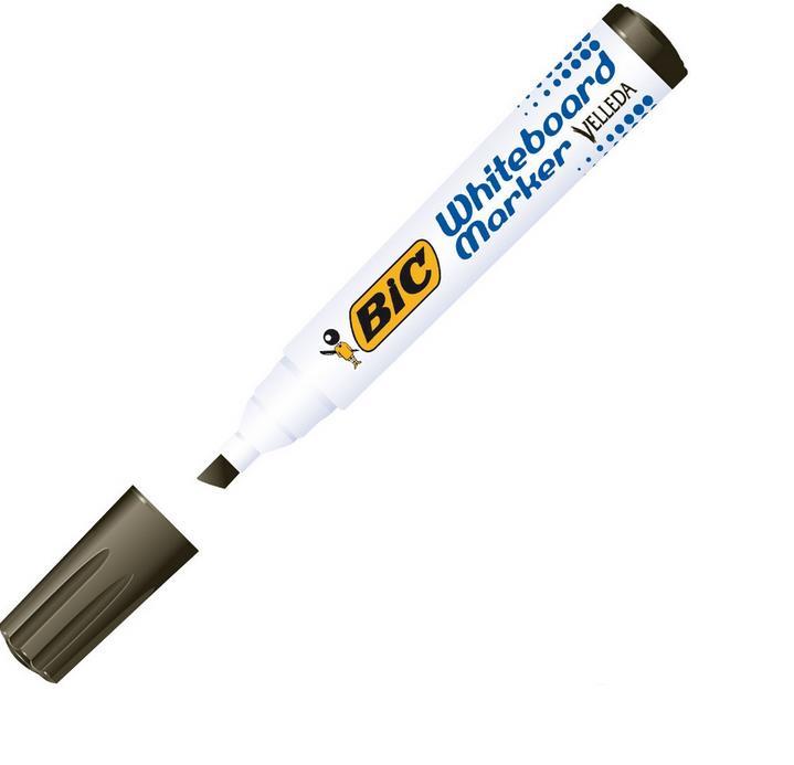 Bic Velleda 1751 Whiteboard Marker Chisel Tip Line Width 3.7-5.5mm Black Classroom Pack