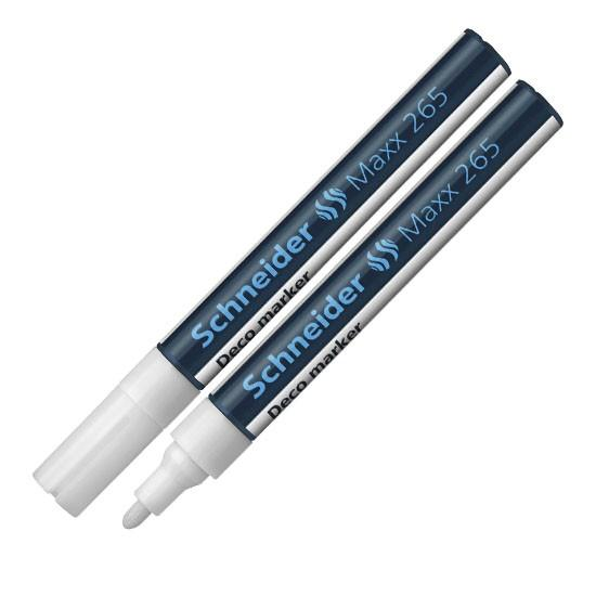 Schneider Deco 265 Chalk Marker Bullet Tip Line Width  1-3mm White Ref 126549 [Pack 10]