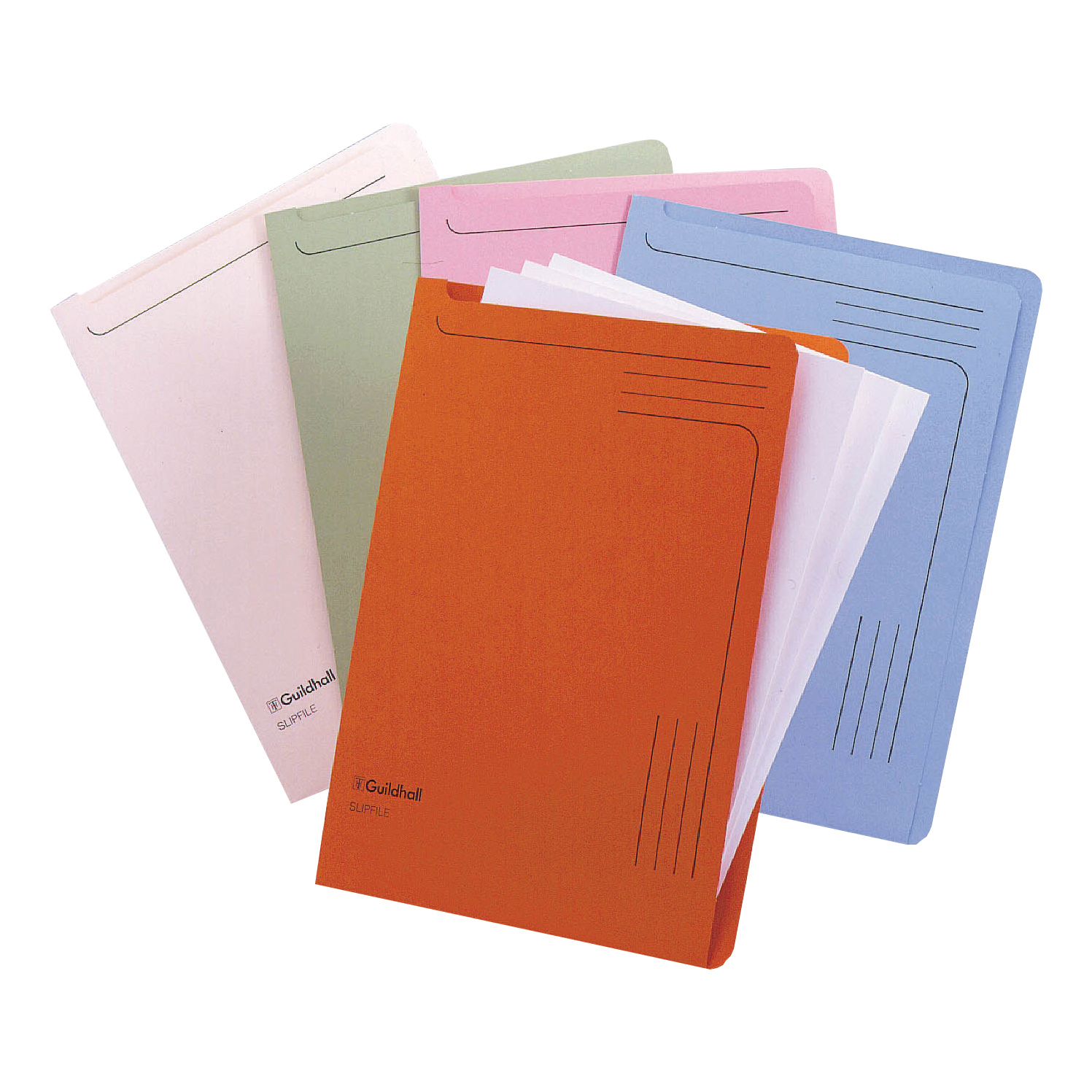 Guildhall Slip Files 230gm Assorted Blue/Pink/Cream/Green/Orange Ref 14600 [Pack 50]