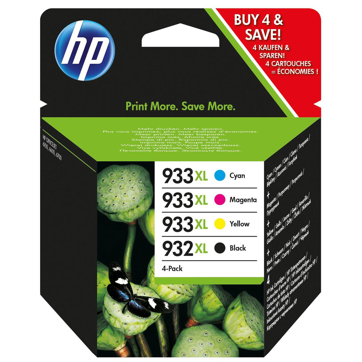 Hewlett Packard [HP] No.932XL/933XLInkjetCart HY Blk 1000pp 22.5ml/C/M/Y825pp 8.5ml Ref C2P42AE [Pack 4]