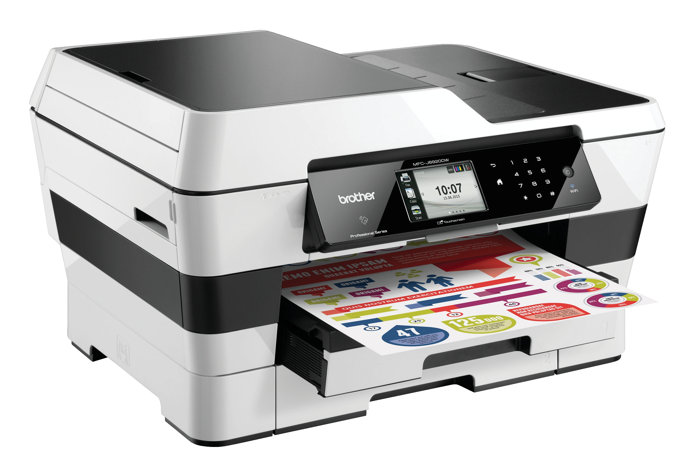 Brother MFC-J6920DW A3 Inkjet All-in-One Printer with Fax Duplex Wireless Extra Tray White (Pack of 1) MFCJ6920DW