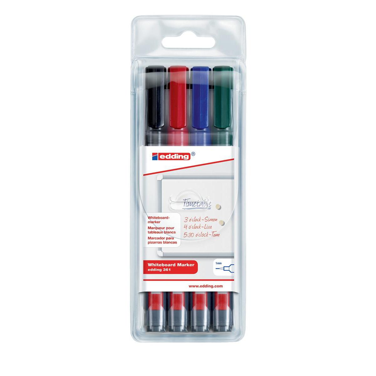 Edding 361/4S Whiteboard Marker Bullet Tip 1mm Line Assorted Ref 4-361-4 [Pack 4]