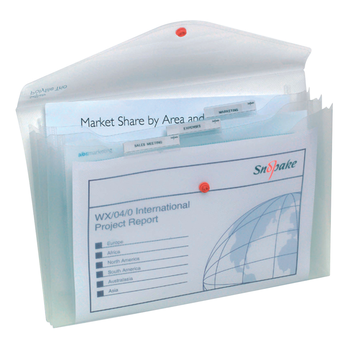 Snopake Polyfile Trio Electra Wallet File Polypropylene with Pocket Foolscap Clear Ref 14966 [Pack 5]