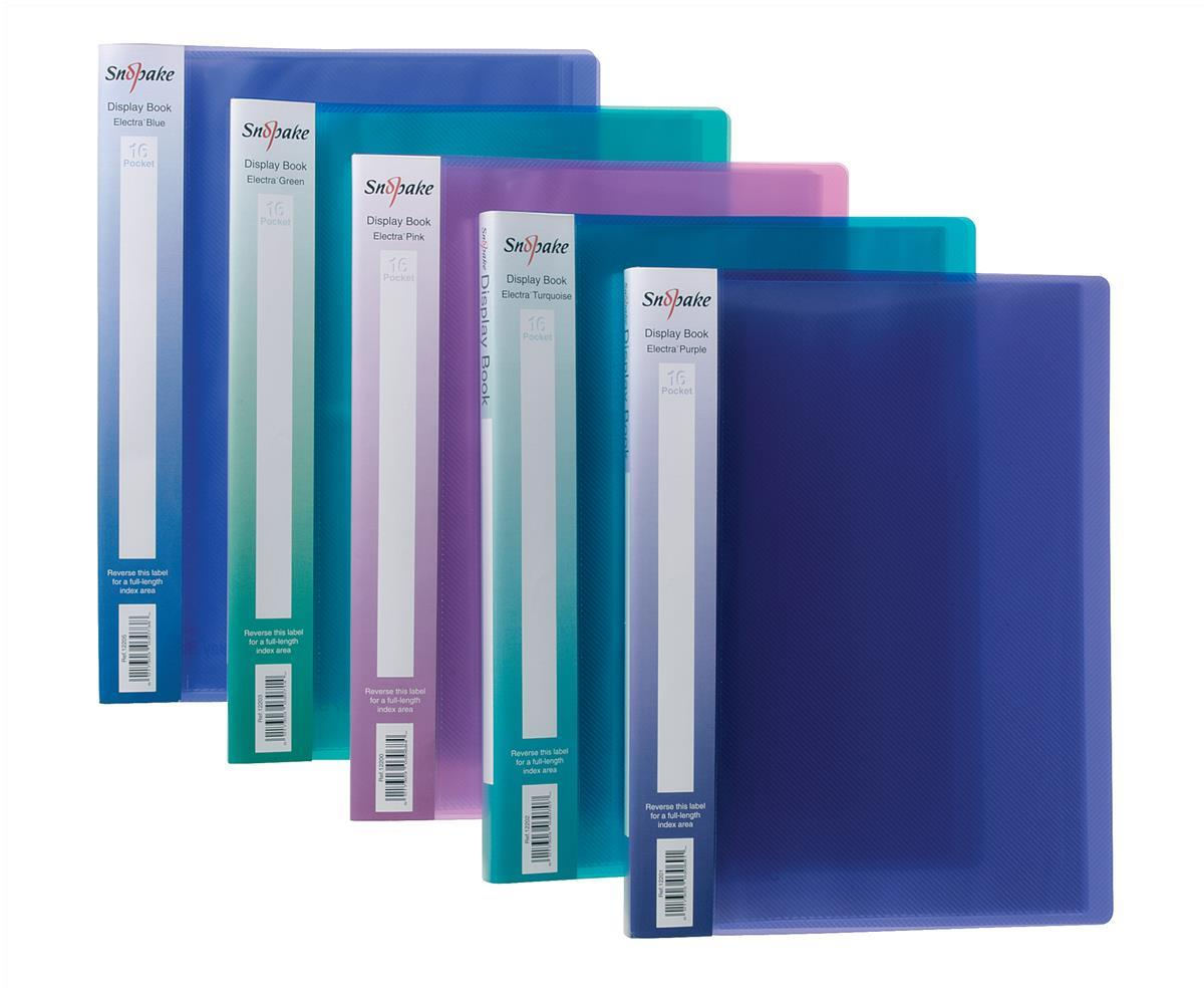 Snopake Electra Display Books 10 Pockets A4 Assorted Pack 10